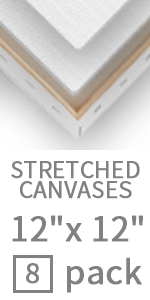12x12 stretched white canvas 8 pack