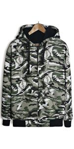 camo green mens sherpa lined hoodie