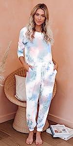 Long sleeve sweatsuit tie dye womens