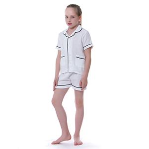 white sleepwear for toddler little boy girl summer short jammies pj set 18m 2t 3t 4t 5t 6t