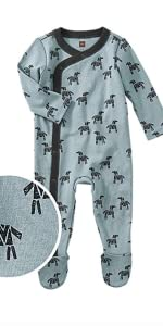 Tea Collection Footed Romper, Woodblock Horses Design