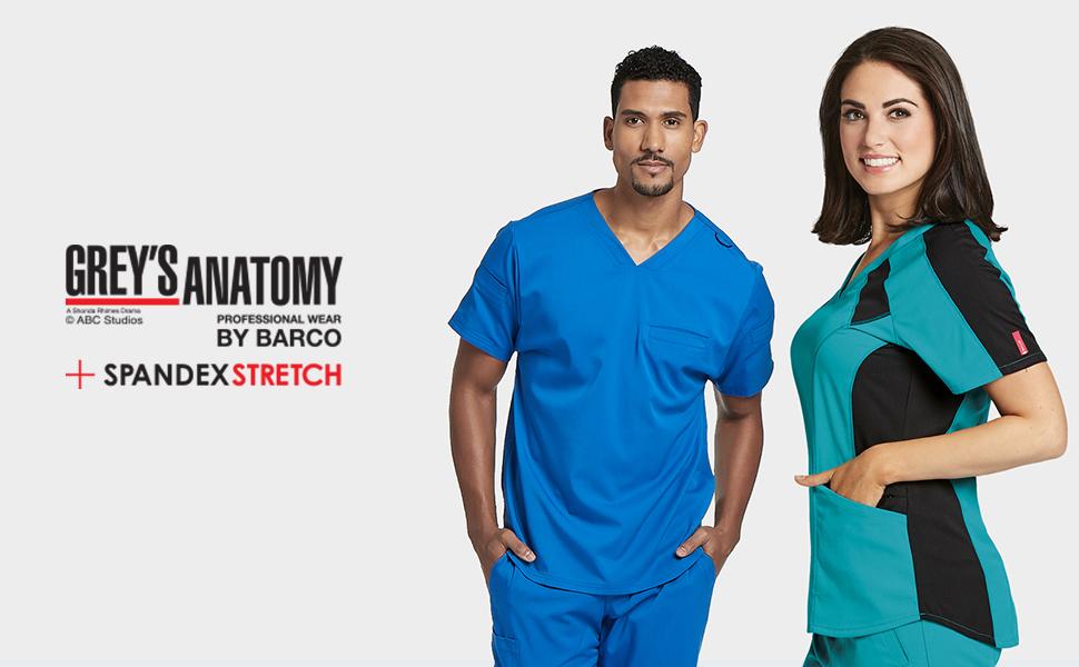 Barco Grey's Anatomy Spandex Stretch Scrubs Medical Healthcare Uniforms Polyester Rayon Spandex
