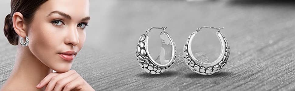 925 Sterling Silver Jewelry Light-Weight Antique Earring