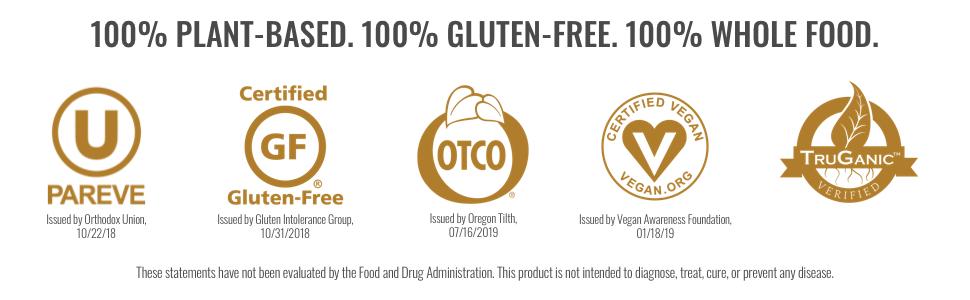 kosher certified gluten free otco vegan truganic