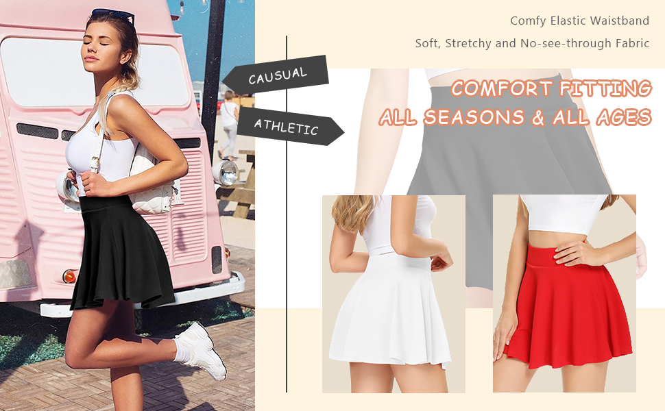 Pleated Tennis Skirts for Women with Pockets Shorts Casual Skater Golf Running Athletic Skorts