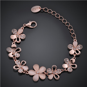 MABELLA 18K Rose Gold Plated AAA Stone Adjustable Fashion Flower Link Bracelet Gifts for Women Girls