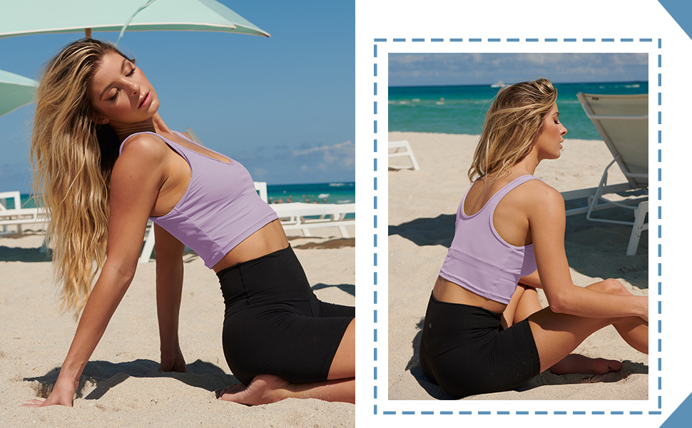 built in bra tank tops for women longline sports bra workout shirts for women cropped tank top