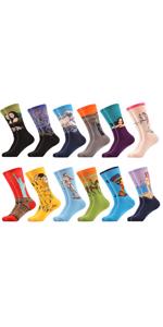 women funny socks painting van gogh art retro novelty dress casual socks