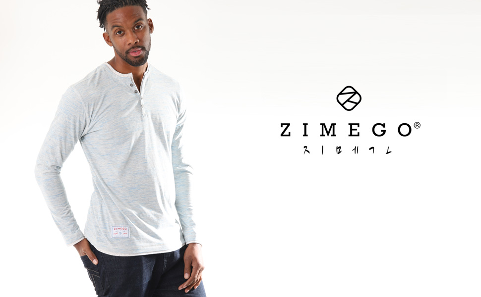 ZIMEGO Model is wearing layered v-neck button henley