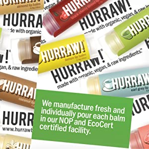 HURRAW Organic Vegan Cruelty Free Non GMO Gluten Free All Natural Luxury SUN SPF15 Lip Balm