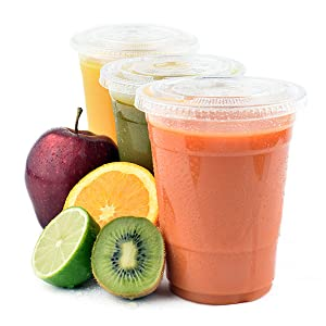 PET cups, fruits, lids