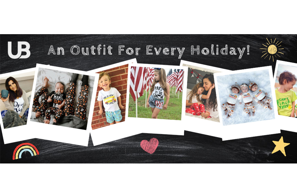 Unique Baby Shop Outfits Clothes Shirts Pants Back to School kids newborn baby girl boy