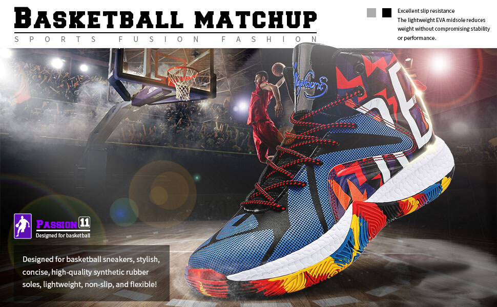 Kid's Basketball Shoes High-top Sports Shoes Sneakers Durable Lace-up Non-Slip Running Shoes