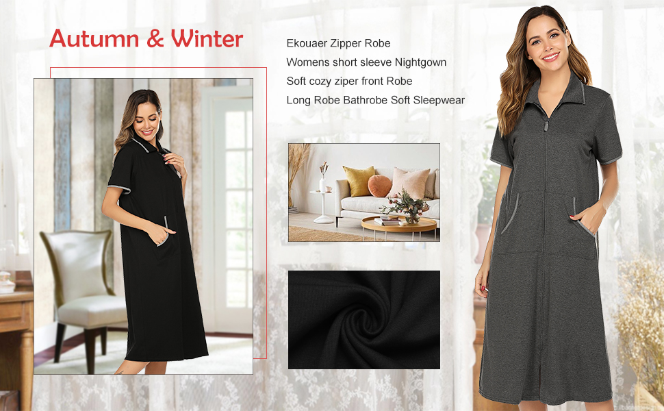 womens zipper front robe with pockets