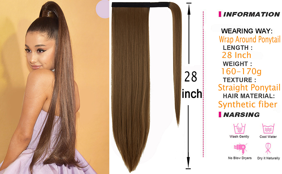 Ponytail Extension Long Straight Wrap Around Ponytail Clip in Hair Extension