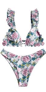 Floral Ruffle Bikini Swimwear