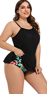 Women's Plus Size Ruffle 2 Piece Tankini Bathing Suit