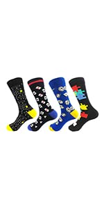 TOSKIP Men's Game Funny Novelty Sock and Daddy Old-School Business Cotton Socks Size 7-13…
