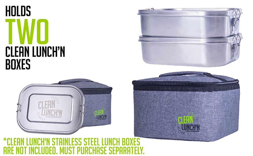 the lunch bag holds two meals inside two clean lunch'n boxes for