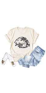 Women No One Likes A Salty Beach Tshirt Letters Printed Vintage Casual Graphic Tops