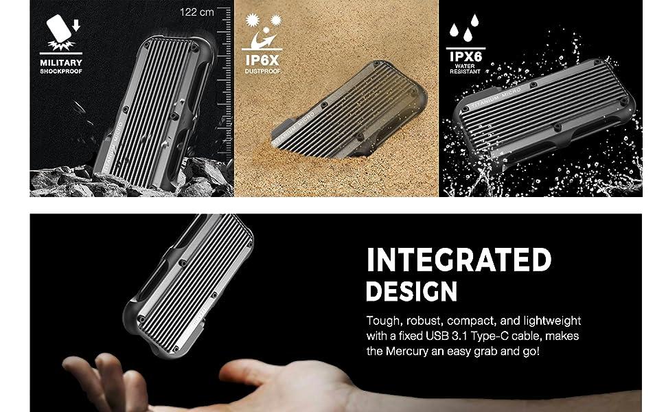 IP66 waterproof dustproof dropproof small rugged lightweight external ssd