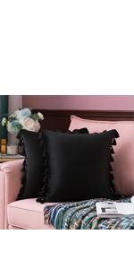 tassel boho fashionable velvet soft 18x18 inch inches comfy black dark color decor solid generous