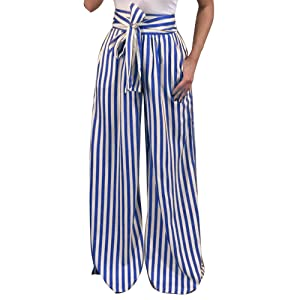 Striped Wide Leg Pants for Women Plus Size Palazzo Trousers Sexy Blet Casual Pockets
