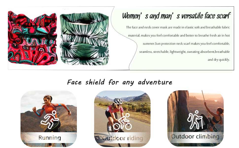 Outdoor Seamless Face Mask Bandana Neck Gaiter Elastic Tube Headwrap Sun Sport Windproof Headwear