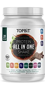 topbit all-in-one plant based protein powder vegan protein shake probiotics greens bcaa nutrition