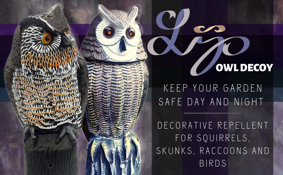 lijo owl decoy repellent pest garden animal bird skunk rat mice rabbit bunny predator guard plants