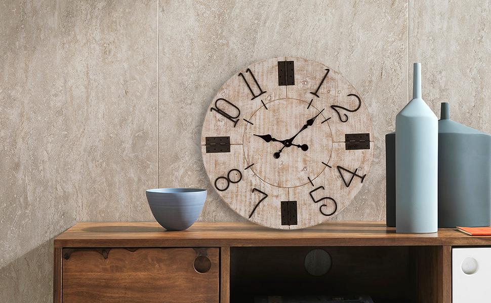 Oversized Wooden Wall Clock Decorative