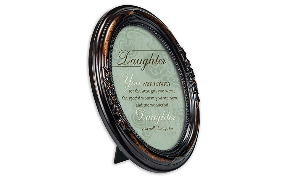 Cottage Garden Daughter You are Loved Burlwood Finish Floral 5 x 7 Oval Table and Wall Photo Frame