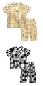boy girl cotton plaid pajama set pj set for toddler little boy girl loungewear long pajama pants