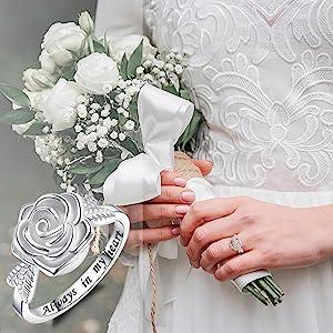 ROSE FLOWER URN RING