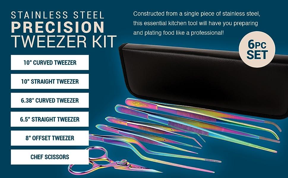 O'Creme ocreme kitchen cooking tweezer plating tong chef cook tweezers set