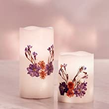 candle with pressed flowers