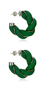 chunky leather twisted earrings