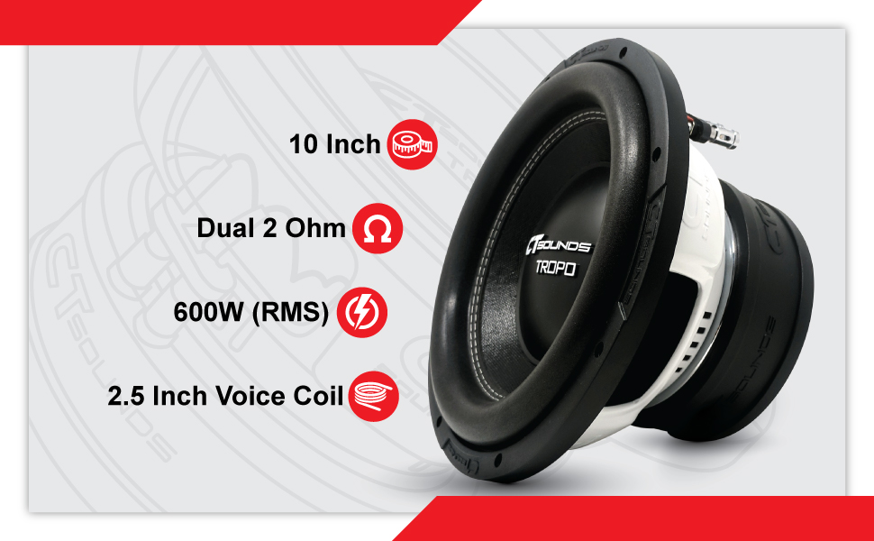CT Sounds Tropo 10 Inch D2 Subwoofer Technical Features