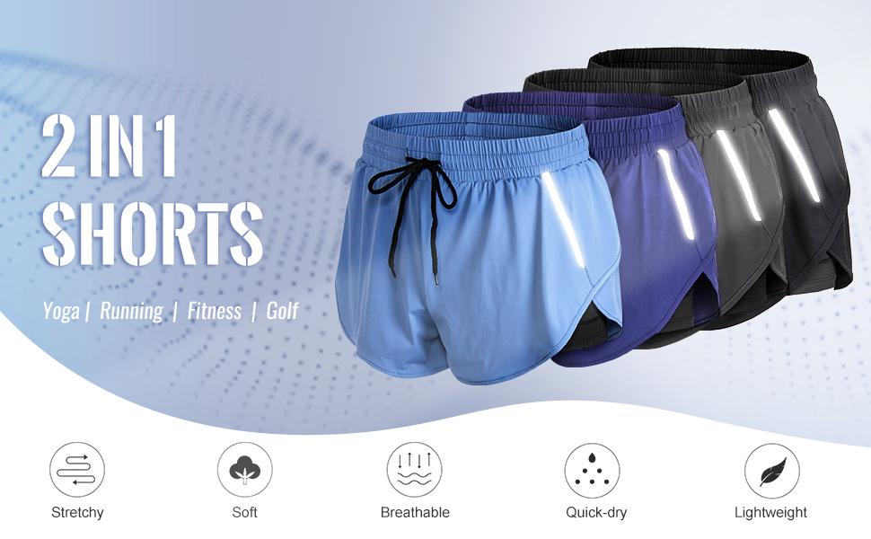 yoga shorts 2-in-1