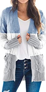 Womens Cable Knit Color Block Cardigans Open Front Long Sleeve Plus Size Casual Pockets Sweaters
