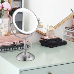 nickel tabletop mirror