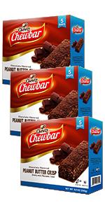 Chewzy Peanut Butter Chocolate Crisp Bar Snack Pack of Three