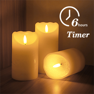 Flameless Flickering Candles with Timer, 3D Wick Real Wax Battery Operated White Pillar Candles