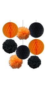 Orange and Black Honeycomb Balls Pom Pom Halloween Party Decoration 8pcs