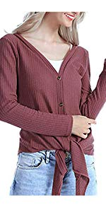 Womens Casual V Neck Cardigans Sweaters Tunic with Buttons