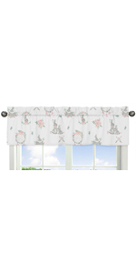 Blush Pink and Gre Boho Dream Catcher Arrow Window Treatment Valance for Bunny Floral Collection