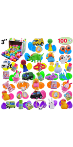100 Pcs Prefilled Easter Eggs with Toys and Stickers