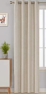 Deconovo Total Blackout Faux Linen Grommets Curtains