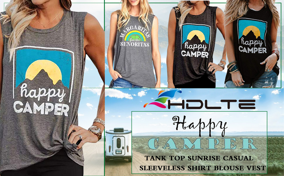 Women HappyCamper Tank Top Sunrise Casual Sleeveless T-Shirt Blouse Vest
