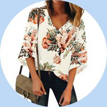 Apricot Floral Print Summer Top